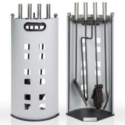TecTake support métal accessoires cheminée pelle, balai et tisonnier