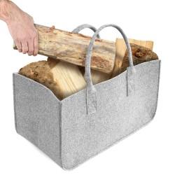 Sac en feutre, Aodoor panier à bûches bois sac de rangement, panier sac bûches en feutre porte-journaux 50 x 25 x 25 cm (Gris)