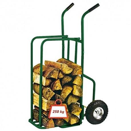 Provence outillage 07511 chariot à bûche charge maxi 250 kg + roues gonflées vert