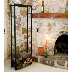 DanDiBo étagère bois de cheminée XXL Noir porte bois de chauffage 150cm corbeille bois porte bois de cheminée étagère en bois