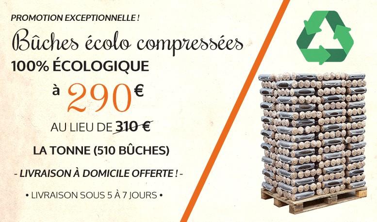 Bûches Ecolo Compressée - 100% Ecologique à 290 € euros au lieu de 320 € la tonne